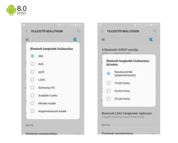 Samsung Galaxy Note 9 Oreo - Bluetooth hangkodek kiválasztása