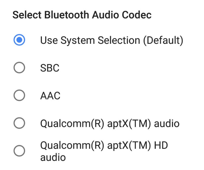 Bluetooth audio kodek